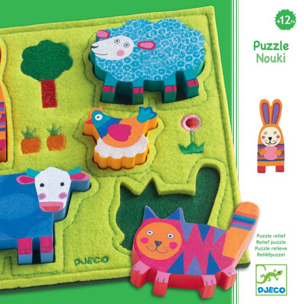 Djeco Nouki Wooden Felt Puzzle