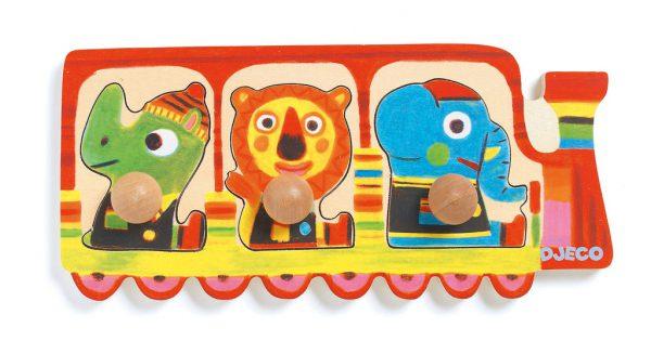 Djeco Wooden Train Button Puzzle