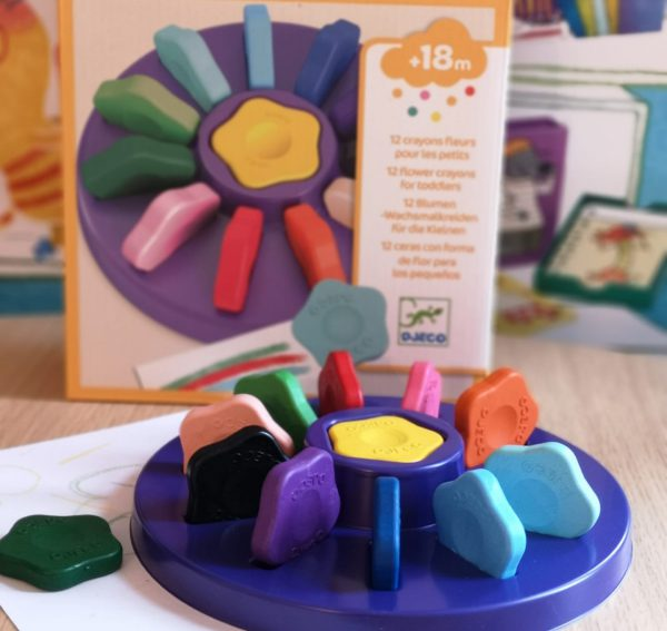 Djeco 12 Toddler Flower Crayons - Educational Toys Online