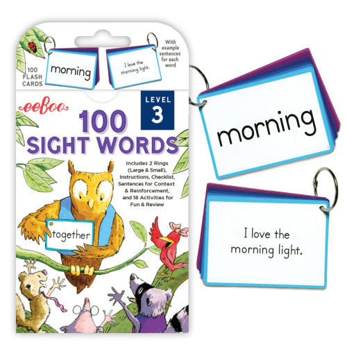 100 Sight Words Flash Cards - EeBoo Level 3 - Educational Toys Online